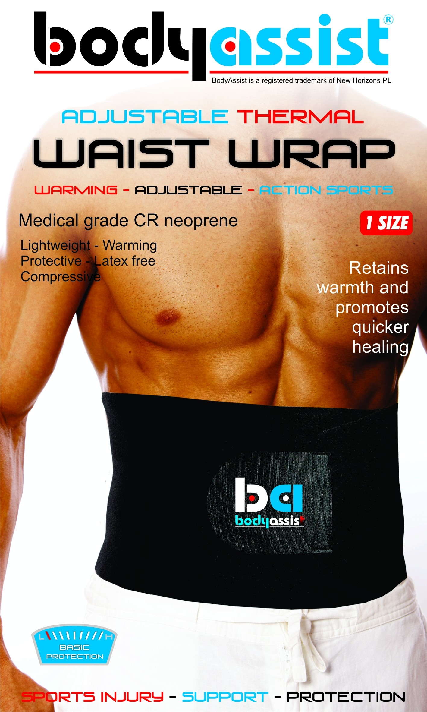 Bodyassist Thermal Waist Belt Wrap - one size