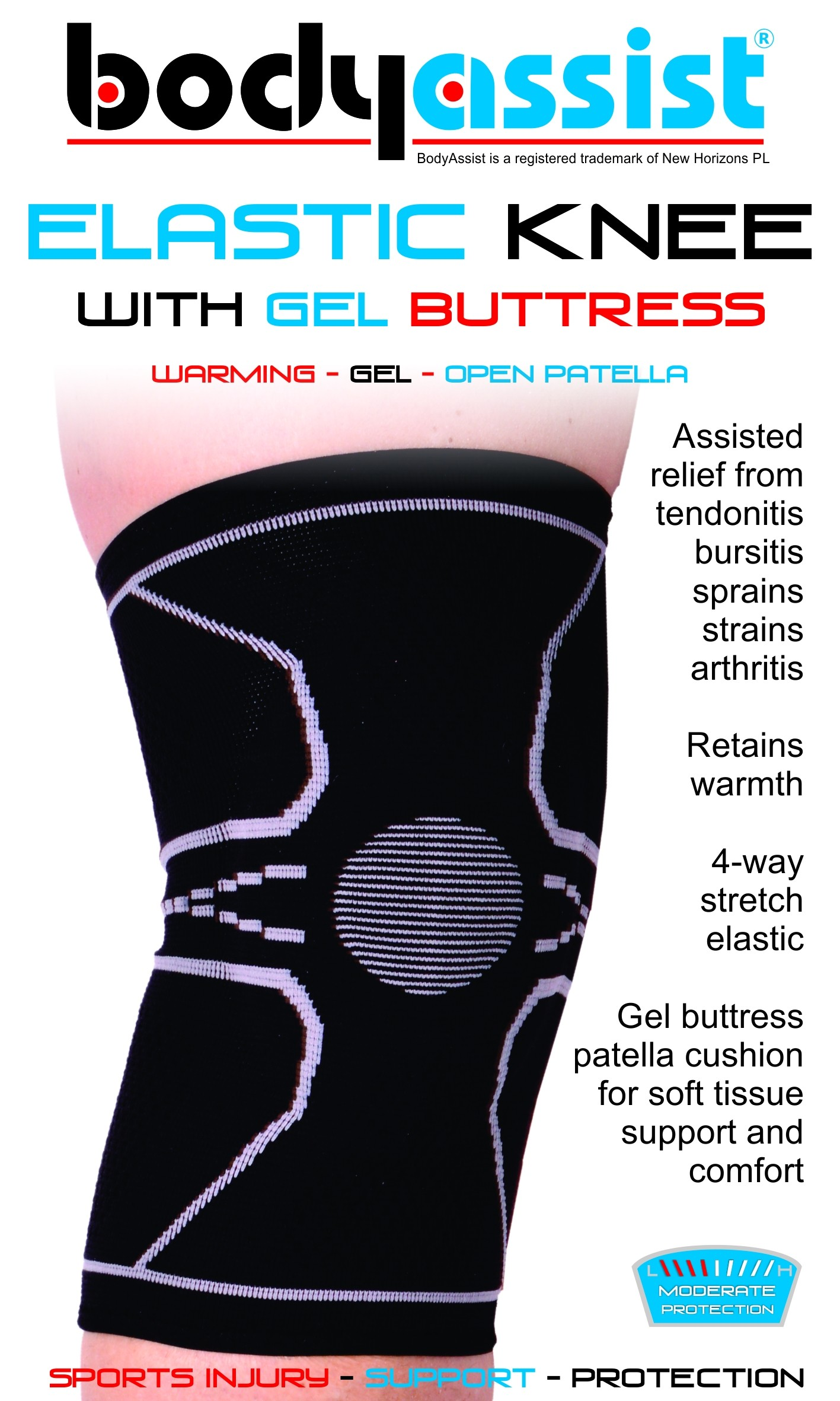 BA Elastic Knee with Gel Buttress