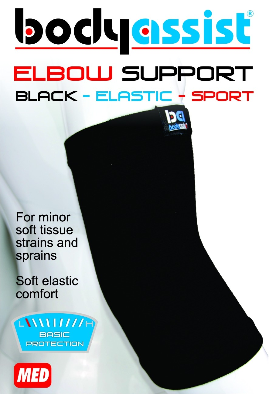 Bodyassist Black Elastic Slip-On Elbow Support