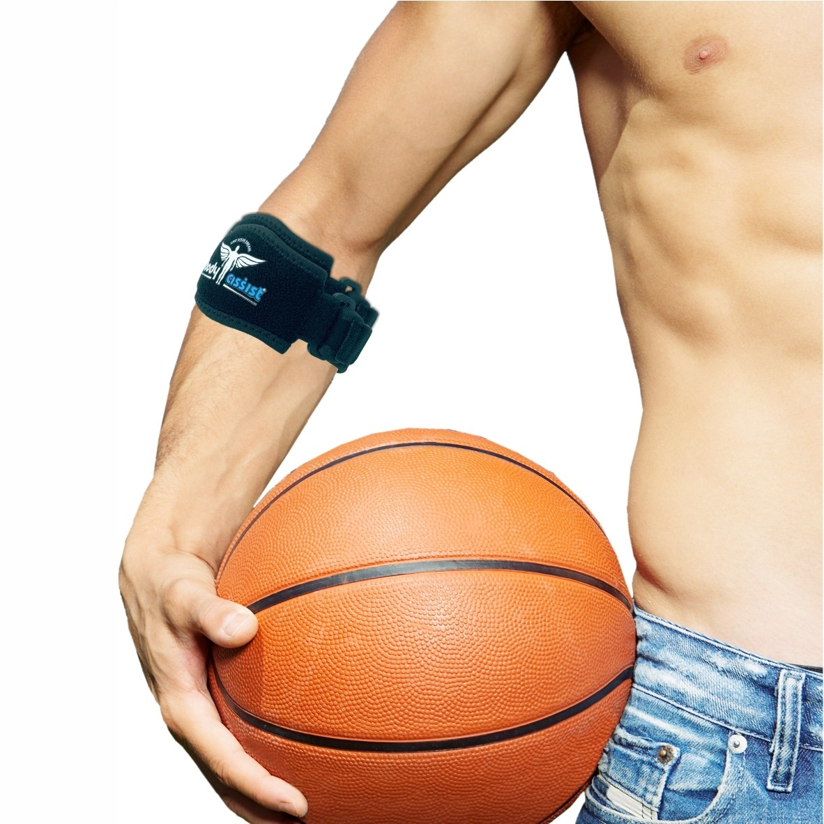 BA Sports Tennis Elbow Band with Pressure Pad Blk One Size