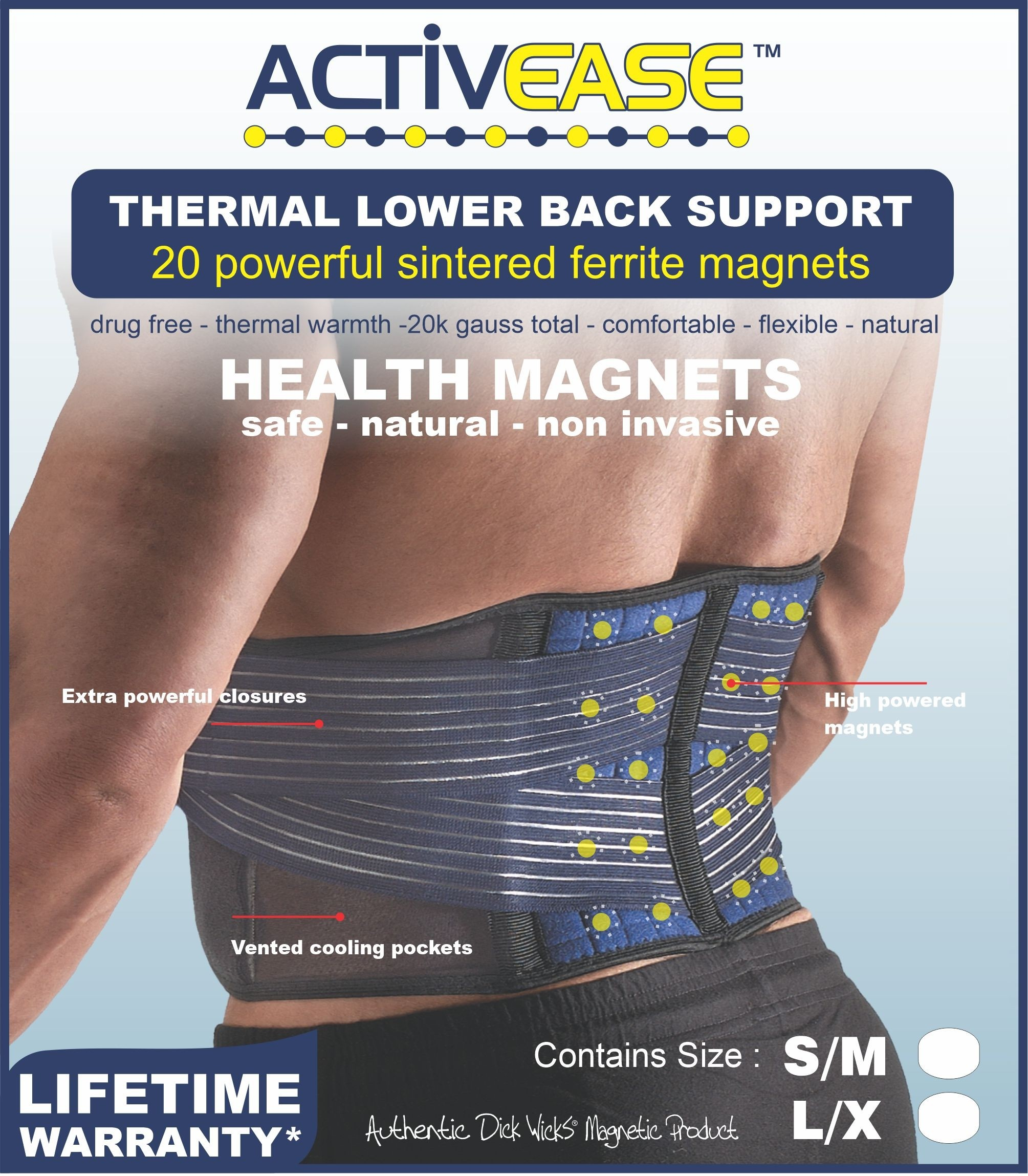 Activease Thermal Back Support with Magnets by Dick Wicks