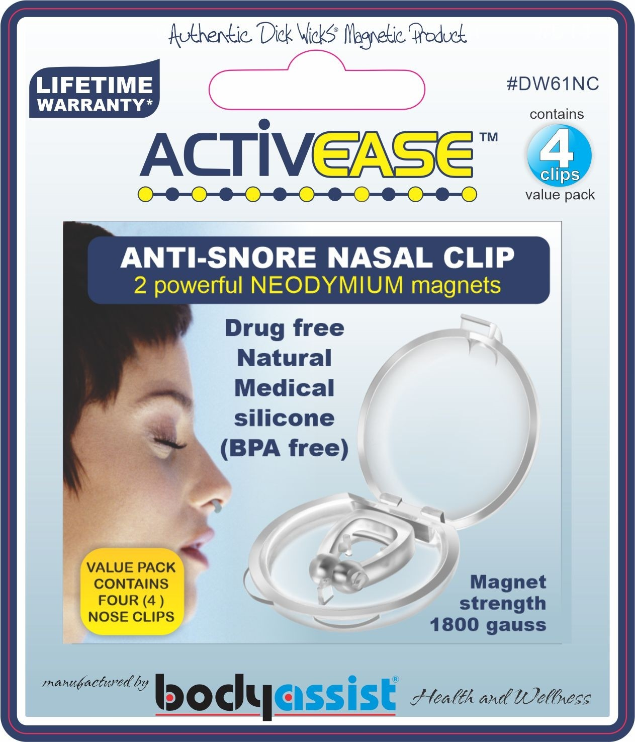 ANTI-SNORE NASAL CLIP MAGNETISED (contains 4 nose clips)