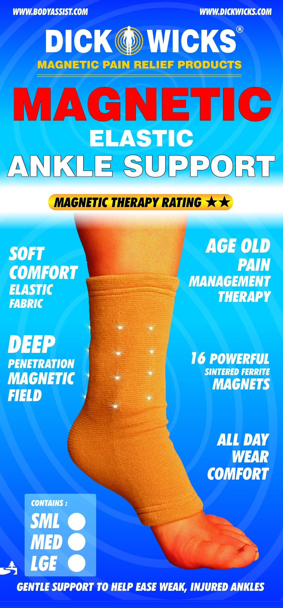 Dick Wicks Slip-On Magnetic Ankle Support