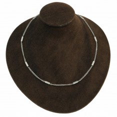 Dick Wicks Magnetic Chain Necklace Etched Barrel 50cm - SILVER
