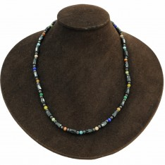 Hematite Stone Faceted Barrel Style Multi Colour Magnetic Necklace