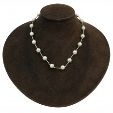 White Pearl Post Link Necklace