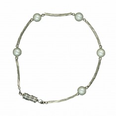 Dick Wicks Magnetic Classic Cable Link Bracelet with Small White Pearl